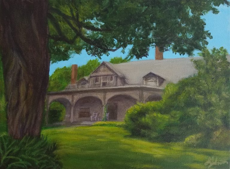 Looking Back at the Memories by Laura Jaen Smith. Acrylic landscape painting looking at the back porch of Quarry Farm, Mark Twain's victorian summer home.