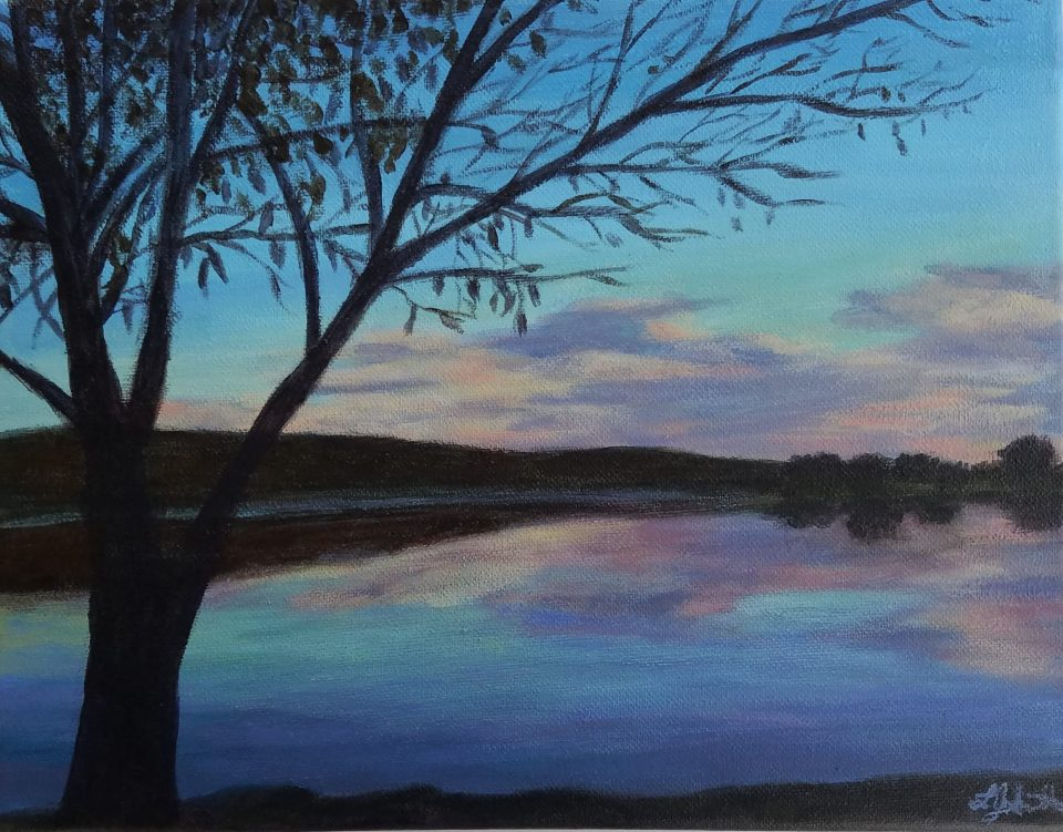 Cold Reflections by Laura Jaen Smith. Acrylic landscape painting of Eldridge Park bare tree in foreground, lake with reflections of blue and pink sky