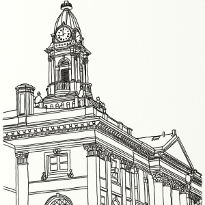 Elmira City Hall outline coloring page by Laura Jaen Smith