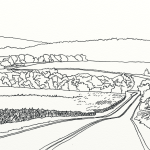 Country Road outline coloring page by Laura Jaen Smith