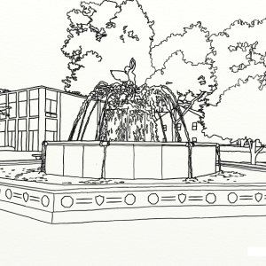 Elmira College Fountain outline coloring page by Laura Jaen Smith