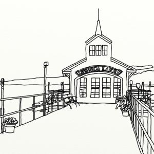 Seneca Pier outline coloring page by Laura Jaen Smith