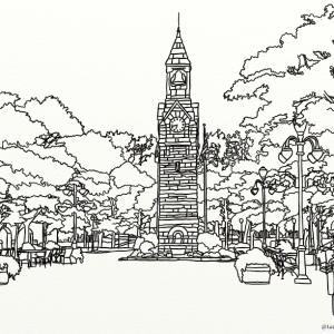 Centerway Square outline coloring page by Laura Jaen Smith. Central square area on Market Street in Corning NY