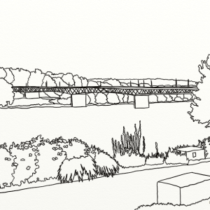 Owego Riverwalk outline coloring page by Laura Jaen Smith. Looking towards the bridge over the Susquehanna River from Owego Riverwalk trail.