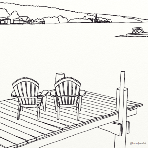 Dockside outline coloring page by Laura Jaen Smith. Two chairs on dock with boat in distance and lake shore behind.