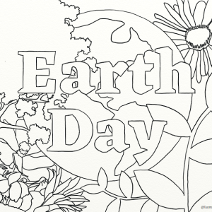 Earth Day outline coloring page by Laura Jaen Smith