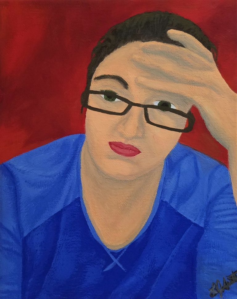 Corona Self-Portrait: Head by Laura Jaen Smith. Gouache Self portrait of woman in blue shirt holding head in pain. Red background.