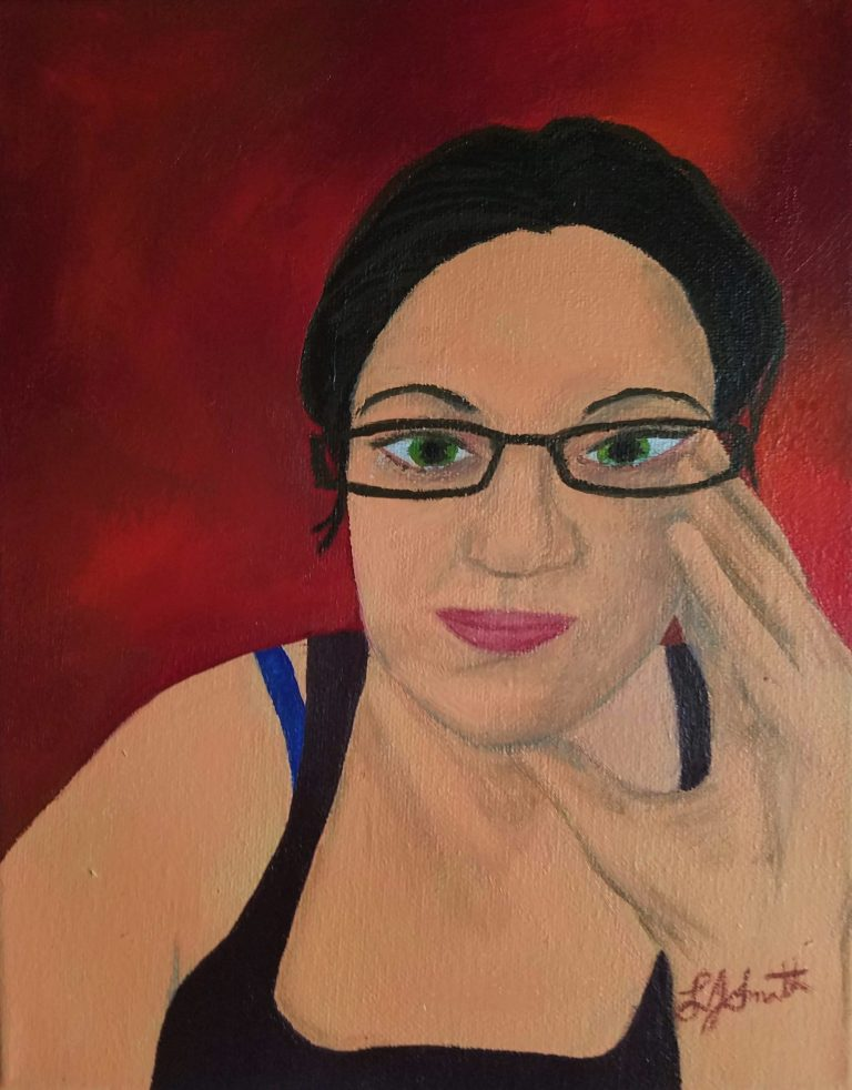 Corona Self-Portrait: Tears by Laura Jaen Smith. Gouache self portrait of woman crying with hand up to face. Red background.