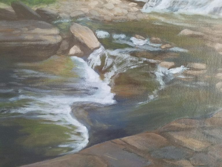Closeup of Escape to Paradise by Laura Jaen Smith. Giant palette-shaped acrylic painting of waterfall in Cascadilla Gorge Ithaca NY