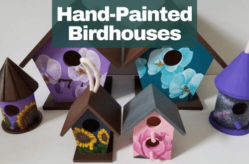Hand-Painted Birdhouses blog cover. Image with two big orchid birdhouses and four small birdhouses.