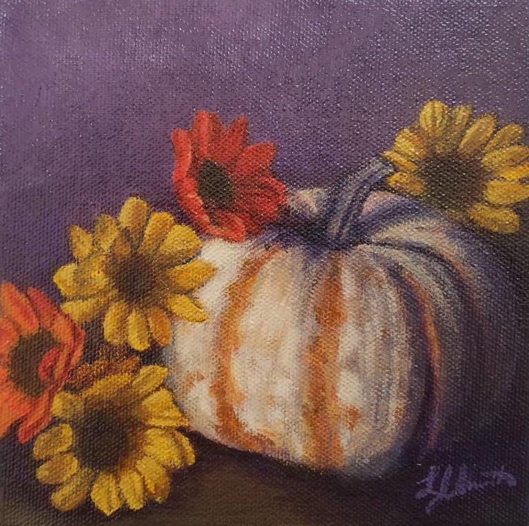 Purple Pumpkin by Laura Jaen Smith. Acrylic painting of white pumpkin with yellow and orange mini sunflowers, purple background.