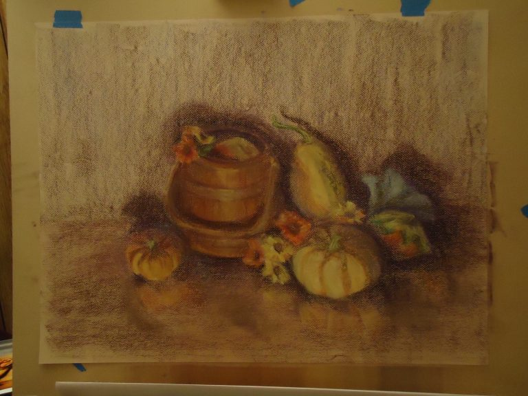 Autumn still life pastel drawing work in progress taped on easel