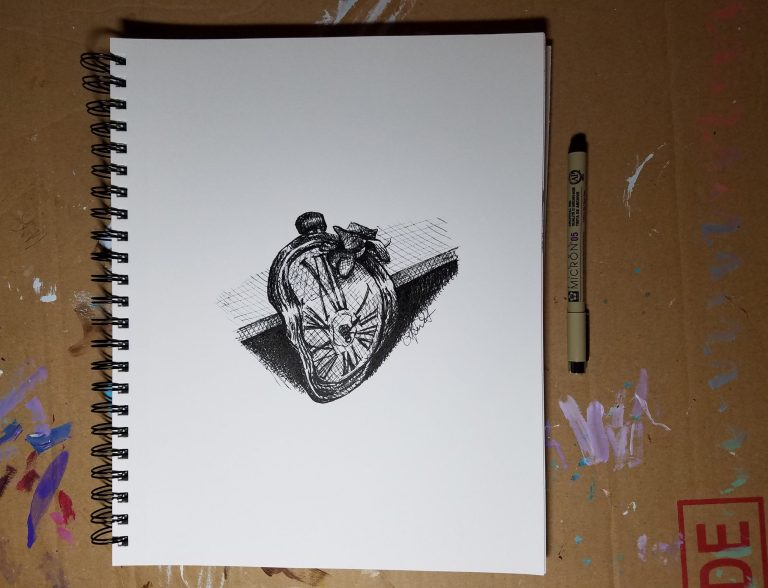 Sketchbook view and pen of Hope by Laura Jaen Smith. Black and white ink drawing of Dali inspired clock on shelf with fallen wilted orchid blossom.