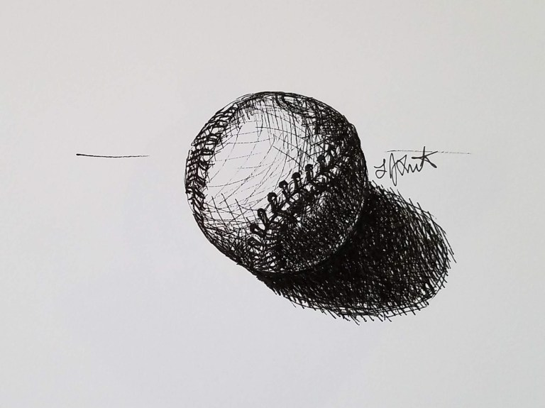 Baseball by Laura Jaen Smith. Black and white ink drawing of a baseball