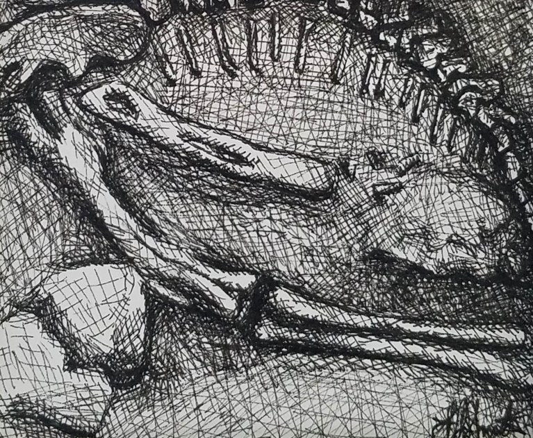 Bones by Laura Jaen Smith. Black and white ink drawing of close up dinosaur bones at a Paleontologist dig