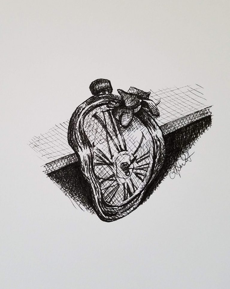 Hope by Laura Jaen Smith. Black and white ink drawing of Dali inspired clock hanging on shelf edge with a fallen wilted orchid blossom on it