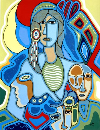 We Walk Together by Daphne Odjig Indigenous Canada artist. Painting with vibrant colors and bold outlines, curved lines, and overlapped shapes