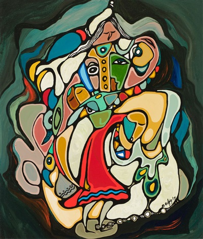 Ancestors by Daphne Odjig Indigenous Canada artist. Painting with vibrant colors and bold outlines, curved lines, and overlapped shapes.