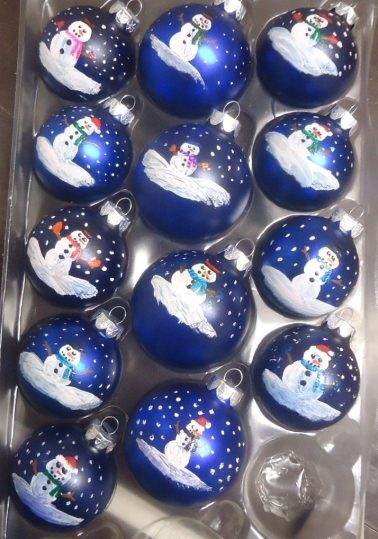 13 blue ornaments with hand-painted snowpeople