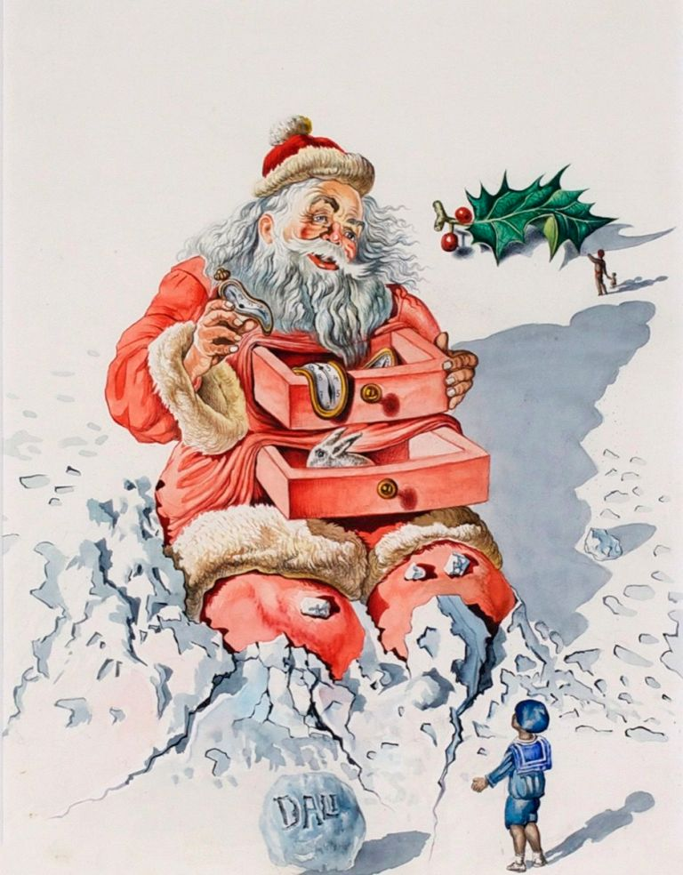 Santa with Drawers by Salvador Dali. 1948 illustrated greeting card surreal image of santa with drawers coming out of front.