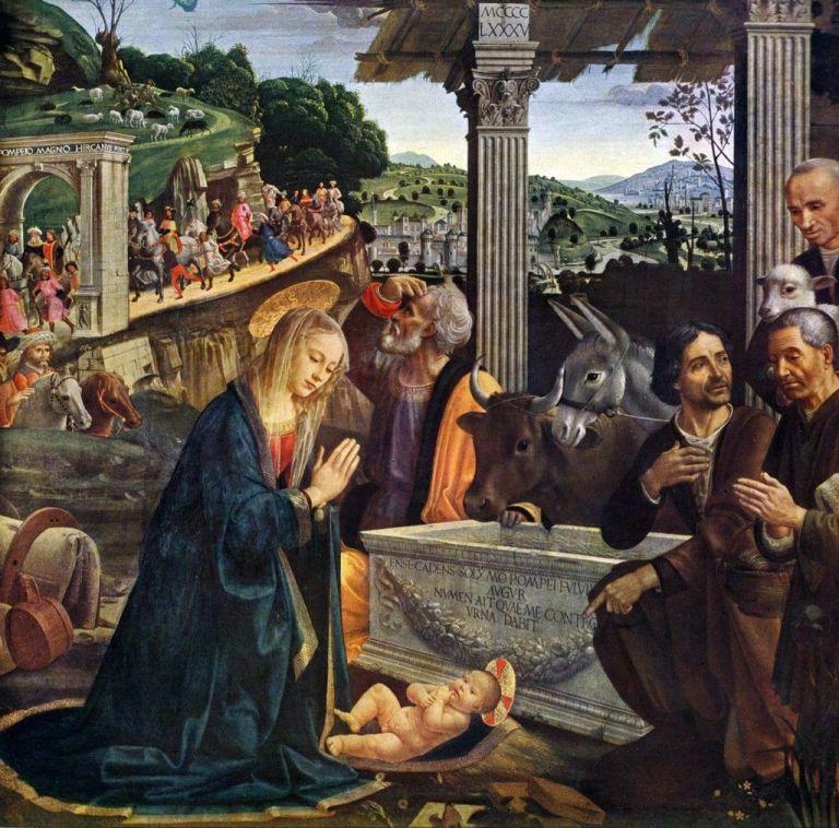 Nativity and Adoration of Shepherds by Ghirlandaio. Tempura painting of nativity scene.