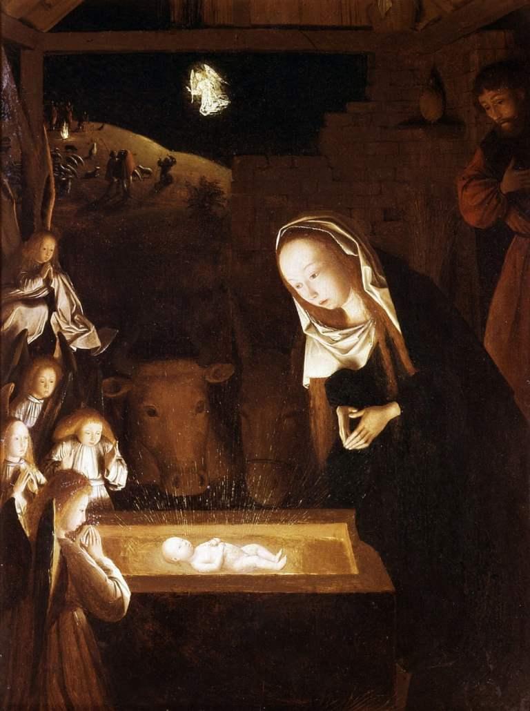 Nativity at Night by Geertgen tot Sint Jans. Early Netherlandish painting of nativity scene
