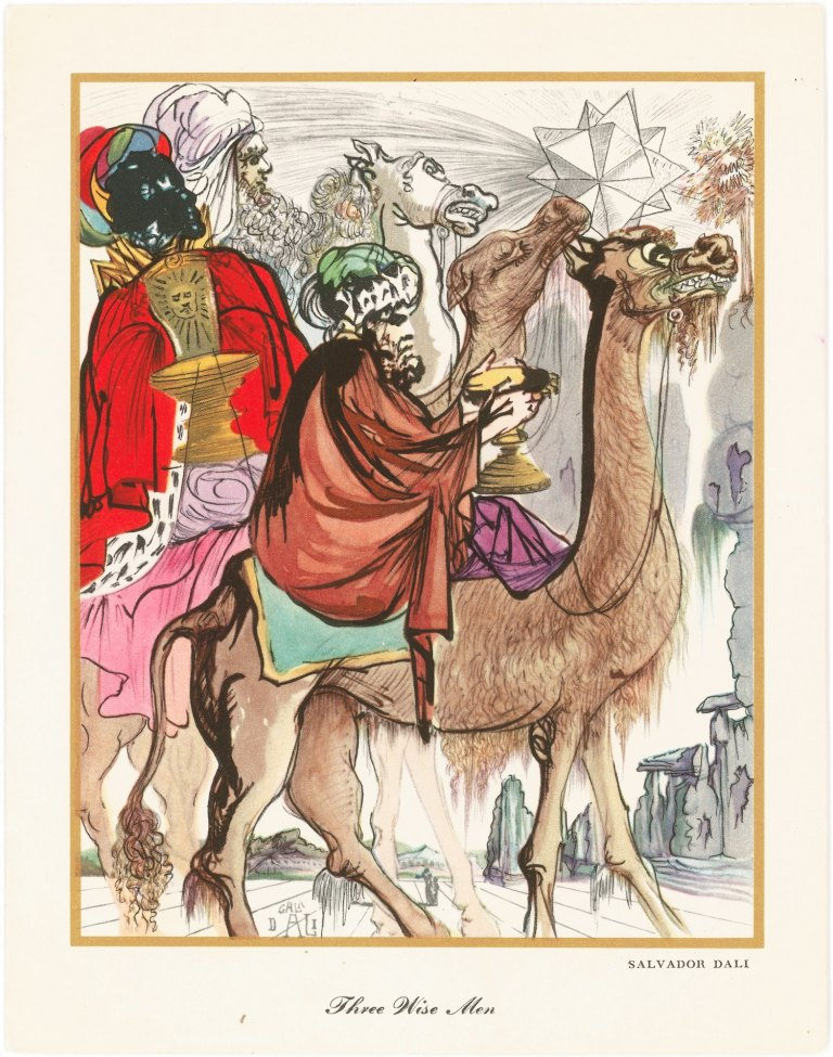 Three Wise Men by Picasso. Greeting card drawing of three kinds on camels