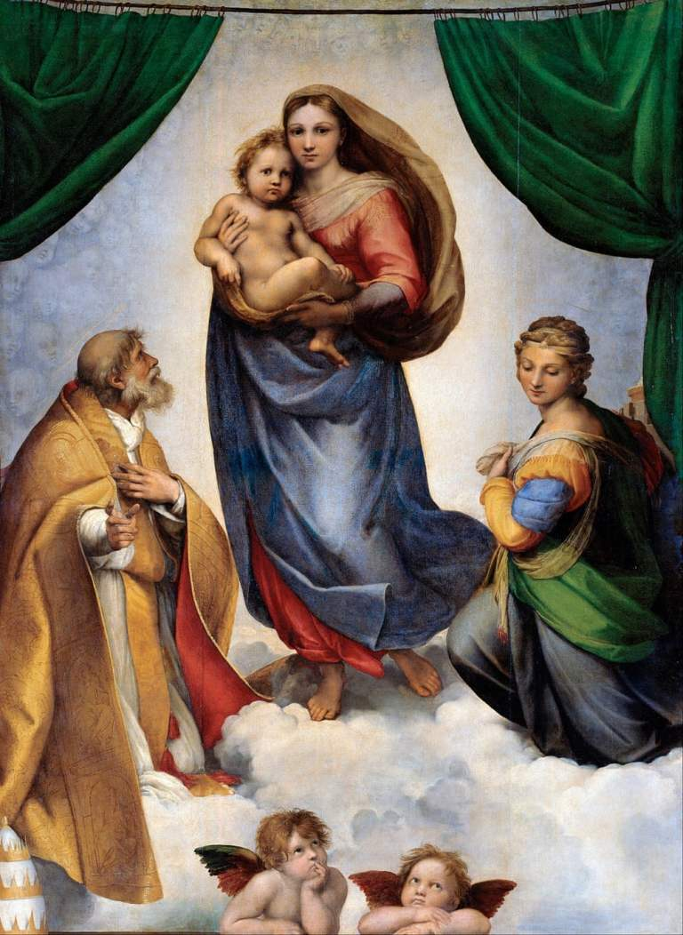 Sistine Madonna by Raphael. 1513 painting commissioned by Pope Julius II of the nativity scene.