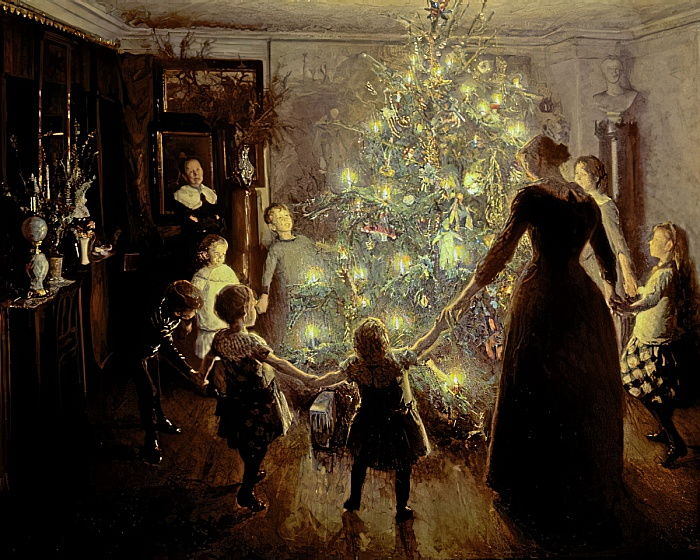 Silent Night by Viggo Johansen. 1891 painting of family dancing with hands held around the Christmas tree