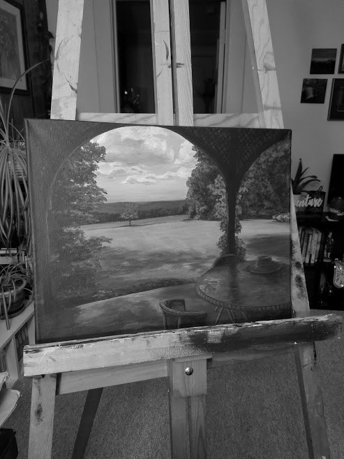 Black and white work in progress photo on easel. Late Summer on the Porch by Laura Jaen Smith. Painting of the porch at Quarry Farm in late summer looking out at the rolling hills of Elmira, ny.
