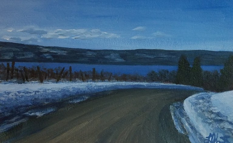 Snowy Afternoon Drive by Laura Jaen Smith. Acrylic painting of snowy roadside with grapevines on the left and Seneca Lake ahead in the distance.