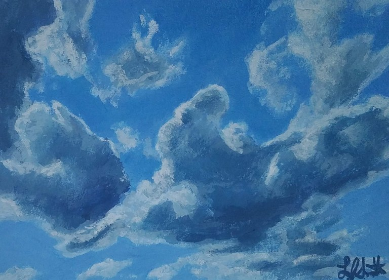 Clouds 3 by Laura Jaen Smith. Acrylic painting of blue sky with clouds.