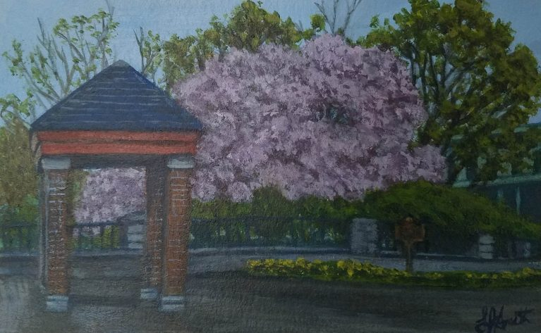 Spring in Bloom by Laura Jaen Smith. Acrylic painting of Owego in springtime on the bridge entrance looking towards the park downtown.