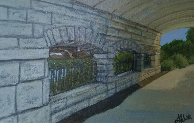Under the Bridge by Laura Jaen Smith. Acrylic painting of Owego Riverwalk on path underneath bridge.