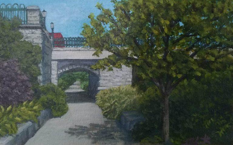 Sunny Afternoon by Laura Jaen Smith. Painting of Owego Riverwalk walking path towards bridge