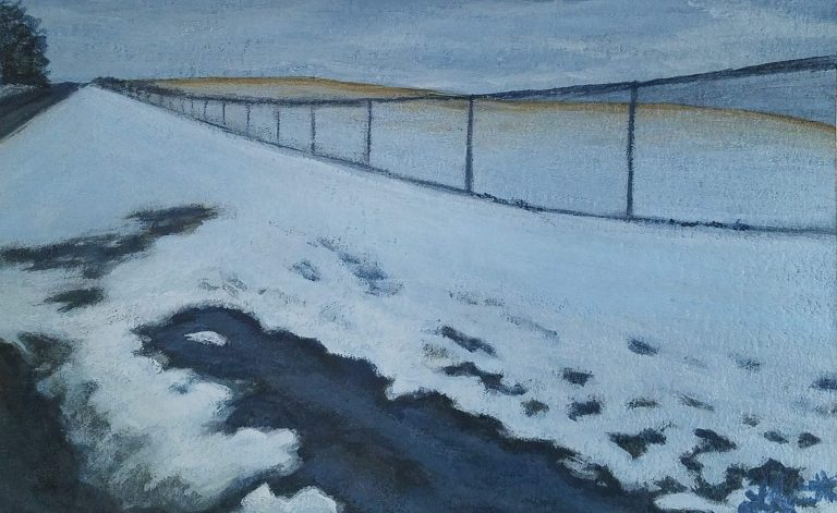 Snowy Roadside by Laura Jaen Smith. Acrylic painting of snowy roadside with melting puddle and chain fence trailing into the distance