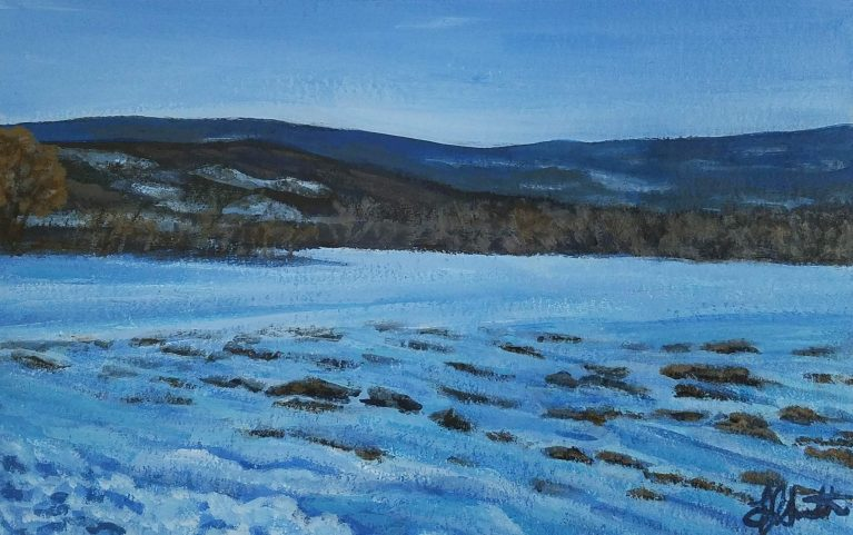 Snowy Field by Laura Jaen Smith. Acrylic painting of snow-covered field with rolling hills of upstate New York in the distance.