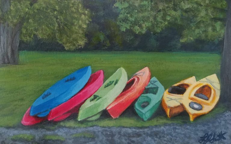 Adventure Awaits by Laura Jaen Smith. Painting of colorful kayaks lined up next to a tree at the lake.
