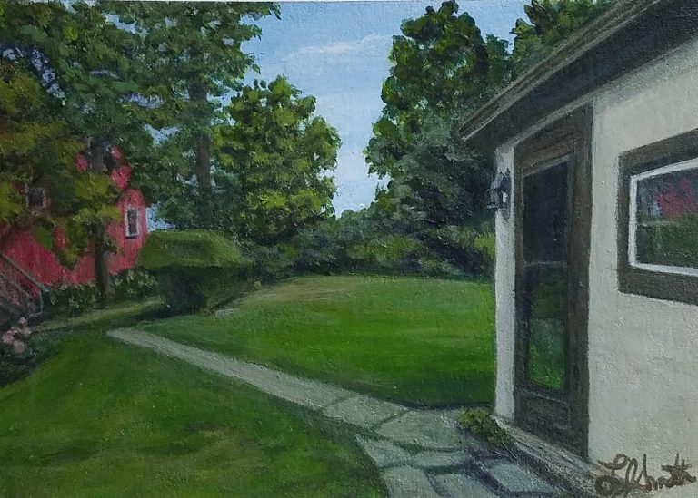 Looking Out Towards the Barn by Laura Jaen Smith. Painting of exterior of victorian home at Quarry Farm looking towards the barn.