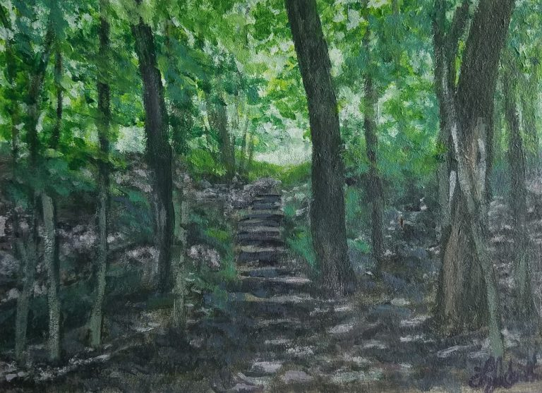 Up to the Study by Laura Jaen Smith. Painting of woods with stone steps leading up to Mark Twain Study site.