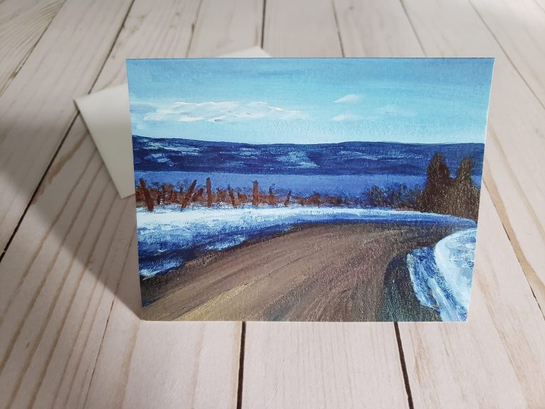 Photo of Snowy Afternoon Drive card print by Laura Jaen with envelope