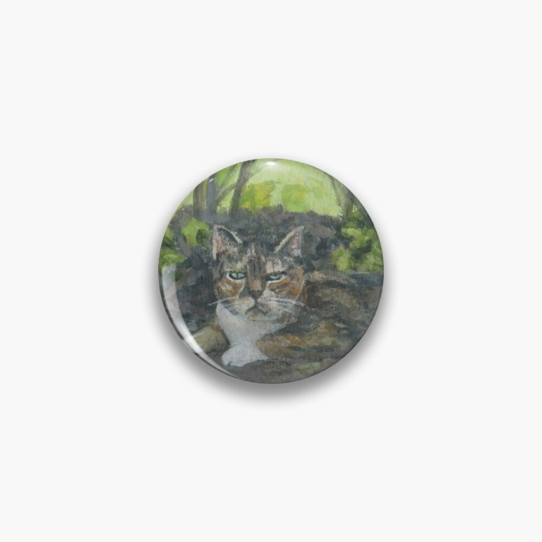 Button with image of painting Faithful Companion calico cat by Laura Jaen