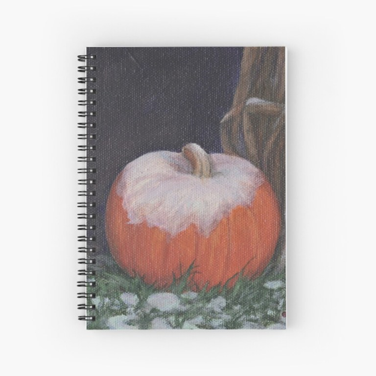 Spiral bound notebook with image of First Snow pumpkin with snow painting by Laura Jaen Smith