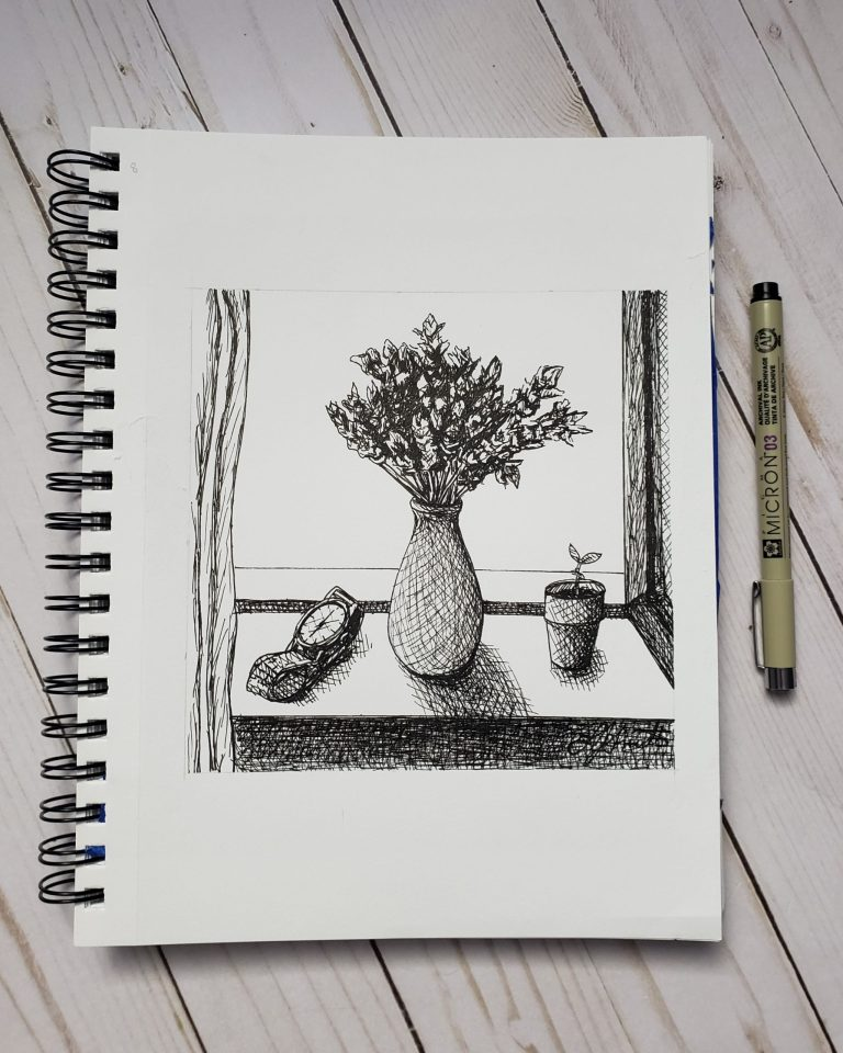 Inktober day 8 ink drawing challenge. Windowsill with vase of lavender, small sprouting plant, and watch.