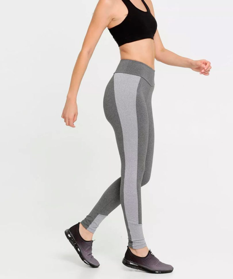 Legging cinza fitness listra lateral
