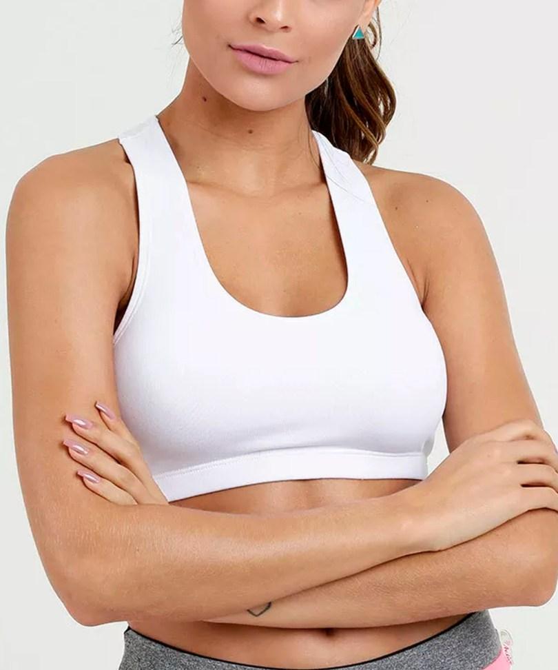Top fitness alças largas branco