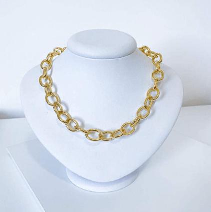 colar corrente grossa elos dourado