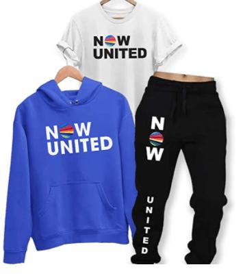 Conjunto blusa e calça moletom azul preta e camiseta branca Now United