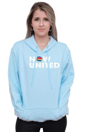 Moletom azul turquesa com capuz Now United