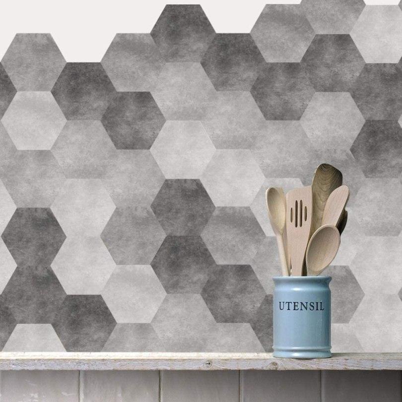 azulejo decorado adesivo cimento hexagonal para cozinha
